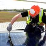 Installation of solar panels with inverter