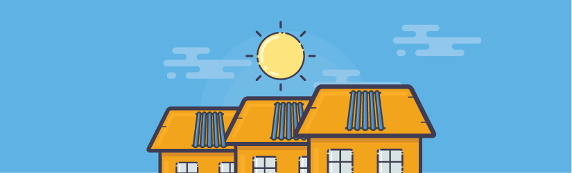 picture of cartoon house with solar water heaters