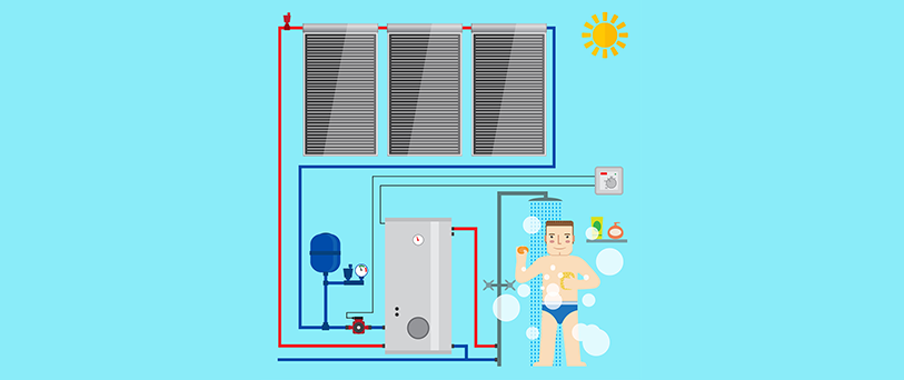 Solar water heaters cartoon